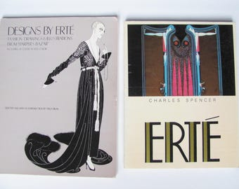 SALE 2 ERTE Fashion Books, Perfect Set for Erte, Art Deco Fashion Illustration, Biography of French Fashion Designer 1910's and 1920's