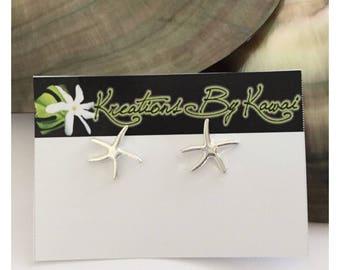 Silver Starfish Stud Earrings