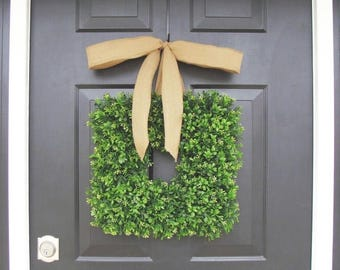 SUMMER WREATH SALE 16 inch Square Boxwood Wreath- Spring Wreath- Housewarming Gift- Kitchen Decor- Shabby Chic Wreath- Choice of Ribbon- 16