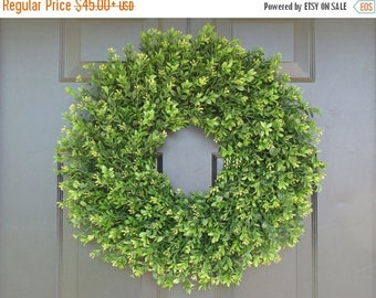 SUMMER WREATH SALE Faux Thin Artificial Boxwood Wreath, Storm Door Wreaths, Front Door Outdoor Wreath,  Ready to Ship, Door Decor, Sizes 14-