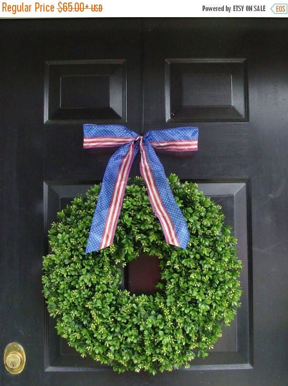 SUMMER WREATH SALE Patriotic Wreath- July 4th Wreath- Memorial Day Wreath- Fourth of July Decor- Made in the Usa- Americana Wreath