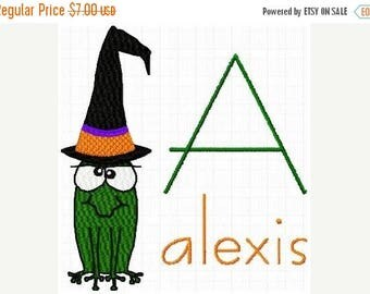 SALE 65% OFF Halloween Witch Frog Machine Embroidery Monogram Fonts Designs Instant Download Sale