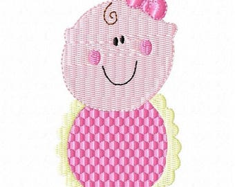 SALE 65% OFF Baby Girl with Bib and Bow Machine Embroidery Design 4x4 Hoop Instant Download Sale