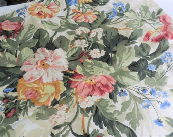 Floral Designer Fabric, Pink Floral Fabric, Home Decor Fabric, Kaufmann Fabric, Blue Floral Fabric, Chintz Fabric Lot