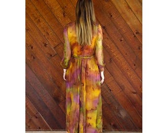 15% Memorial Day Wknd ... Tie Dye Rainbow Silk l/s Sheer Maxi Gown Dress - Vintage 60s - S