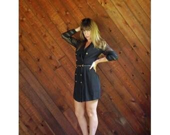 20% off SUMMER SALE. . . Sheer Mesh Sleeve Tuxedo Mini Dress - Vtg - SMALL