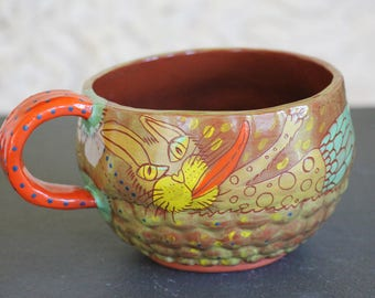 Mermaid Cat ceramic soup bowl or large mug, unique one of a kind pottery