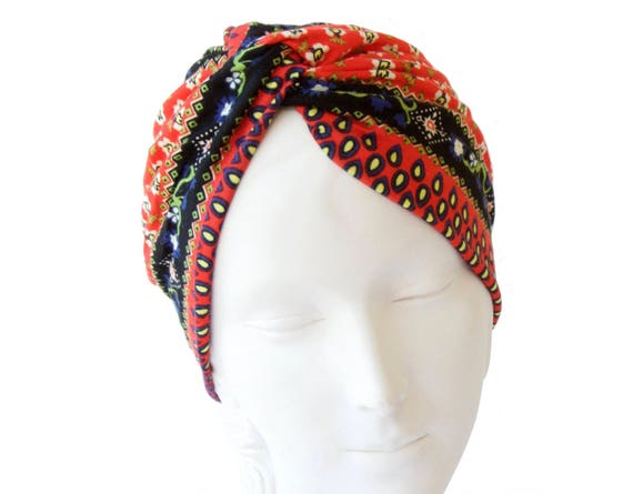 Turban Hat Women's Turban Hat Chemo Cap 1940s Hair Scarf Retro Accessory Stretch Turban Soft Packable Turban Headwrap Paisley Print