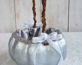 Small Silver Pumpkin Basket for your Cinderella Fall Wedding