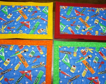 4 Quilted Kids, Children's Place Mats All About School Stuff...Buy 1, 2, 3, 4 or More