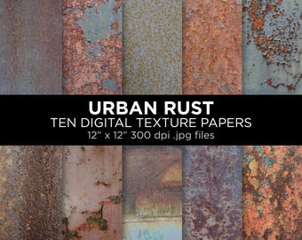 "Urban rust texture printable sheets | 12"" x 12"" 300 dpi jpg 