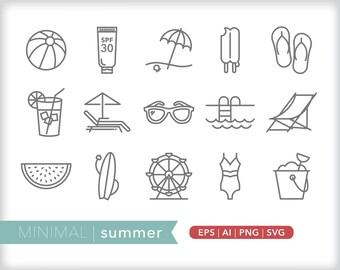 Minimal summer line icons | EPS AI PNG | Geometric Season Clipart Design Elements Digital Download
