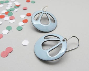 Big Pastel Blue Earrings - Pastel Blue Enamel Earrings - Light Blue Dangle Earrings - Gift for her / Bell Flower