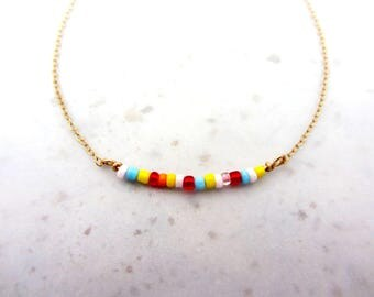 Summer beaded Necklace, Dainty gold filled layered necklace,  Boho summer necklace