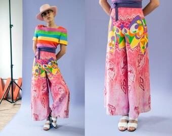 70s Green Castle pink neon tiki batik print high waisted palazzo pants   size medium-large (M/L)