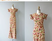 25% OFF SALE Crossette silk dress | vintage 1930s dress | long silk 30s dress