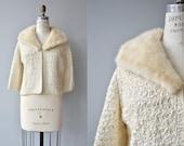 Snow Ribbon jacket | vintage 1950s mink collar jacket | vintage 50s ribbon jacket