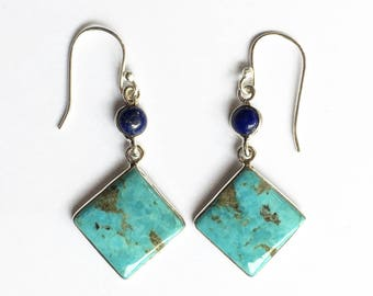 Turquoise and Lapis Lazuli Geometric Design Sterling Silver, Dangle Earrings