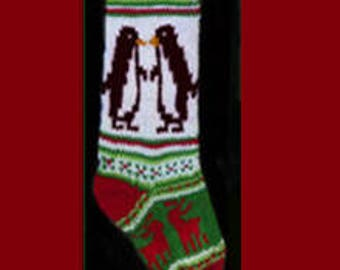 Hand knit Christmas stocking,  Personalized, made of pure wool yarn,  fully lined -- penguin, deer and snowflake