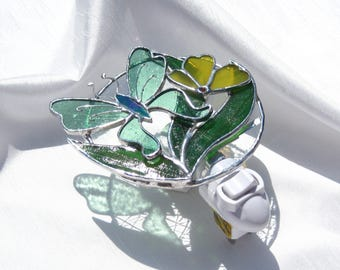 Misty Morning Stained Glass Butterfly Night Light Green and Yellow Night Light Glass Nightlight Floral Night Light Girl's Night Light Summer