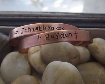 Skinny bracelet set of 2, copper skinny cuffs, Personalized cuffs, Hand stamped Mother cuffs, Custom copper cuffs, Personalized bracelets