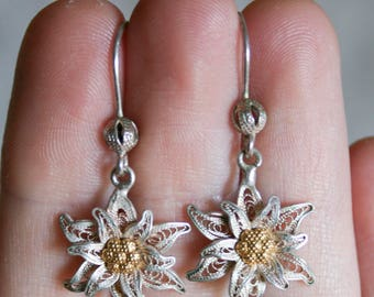 Sterling Silver Poinsettia Earrings