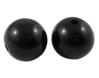 BULK - Black Acrylic Bead - 14mm - Set of 50 - #RB163B