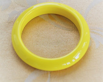 Sunny Yellow Bangle Bracelet, Vintage, Plastic