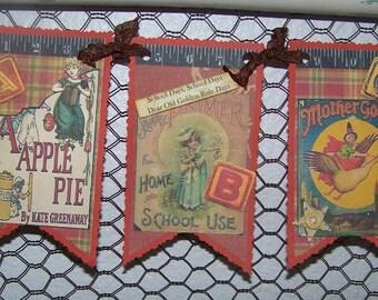 Back To School Banner Garland Decoration Handmade Vintage Style ABC School Banner Garland Teacher Gift