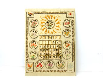 1970s Cross Stitch Calendar Eternal vintage Wall Calendar Embroidery Embroidered Fabric Flower Months Seasons Boho Chic Home Perpetual DES