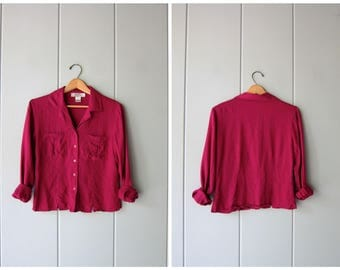 Deep Pink Silk Blouse Minimal Button Up Blouse Long Sleeve Boxy Top 90s Silk Blouse Cropped Top Modern Vintage Womens Small Petite