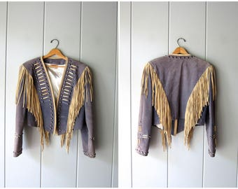 Fringed 60s Suede Jacket Cropped Leather Embellished Military Coat Marching Band STUDDED Punk Rock Bomber Boho Southwestern Medium