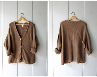 Chunky Brown Sweater Button Up Cardigan Sweater Thick Cotton Ramie Oversized Sweater Preppy Boho Deep V Layering Fall Sweater Women Large