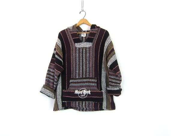 Drug Rug Hoodie 90s Hard Rock Cafe Pullover Mexican Jacket Stripe Hooded Sweatshirt Hippie Boho Vintage Blanket Jacket Size Large