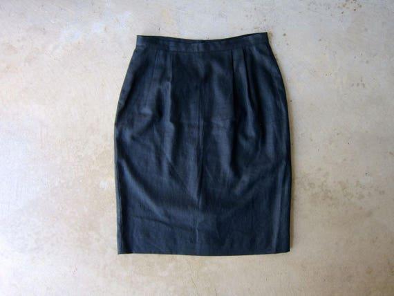 Black Linen Skirt 90s Minimal Pencil Skirt Vintage Modern High Waist Skirt with POCKETS Basic Linen Skirt Womens size 10 Medium / Large