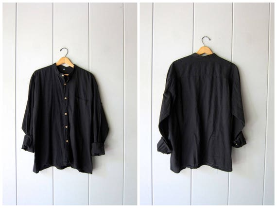 Minimal Black Cotton Button Up Shirt Vintage 90s Basic Long Sleeve Blouse Wooden Buttons Simple Collarless Shirt Modern Womens Mens XL XXL