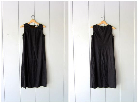 Basic Black Linen & Rayon Dress Minimal Sun Dress Linen Midi Sun Dress Vintage 90s Dress Modern Basic Linen Dress Womens Small Medium 6 P