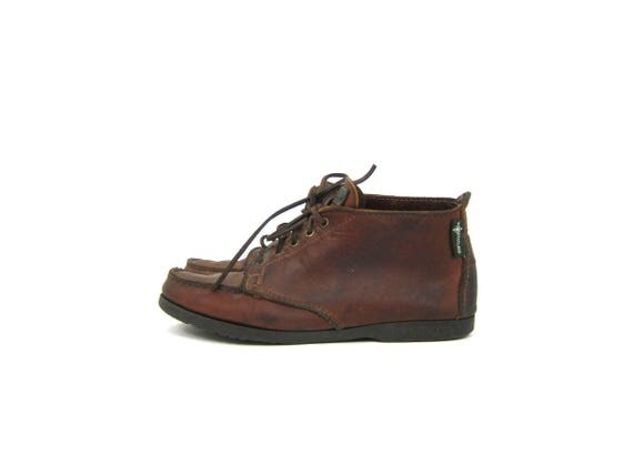 Oiled Leather Boots vintage 90s Eastland Leather booties lace up Brown Leather Shoes Moc Toe Ankle Boot Moccasins women's shoes size 7.5 8