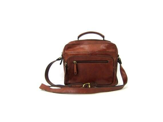 Vintage Cognac Brown Leather Purse crossbody purse Across Body Medium Sized Top Handle Purse Modern Preppy Handbag