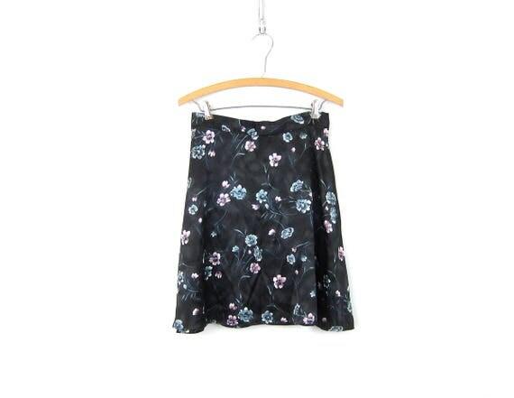Black Mini Floral Skirt Flower Print Garden Skirt Vintage 90s shiny Charcoal Gray Black Skirt High Waist Skirt Womens size 9 10 Medium