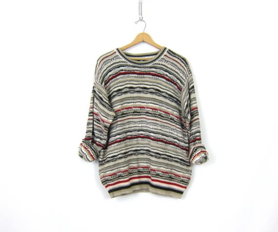 vintage 3D Textured Sweater sweater Multi Colored Oversized Boyfriend Sweater Cotton Pullover Jumper Casual Fall Sweater Size Large