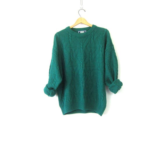 Chunky Green Sweater Oversized Cotton Knit Sweater Vintage Boyfriend Hipster Textured Pullover Unisex Size Medium Large