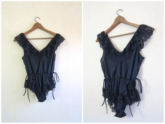 Vintage Lingerie Black One Piece Negligee Black Lace Teddy Slip Nightie 80s Sexy Romper Bodysuit Womens Small Medium