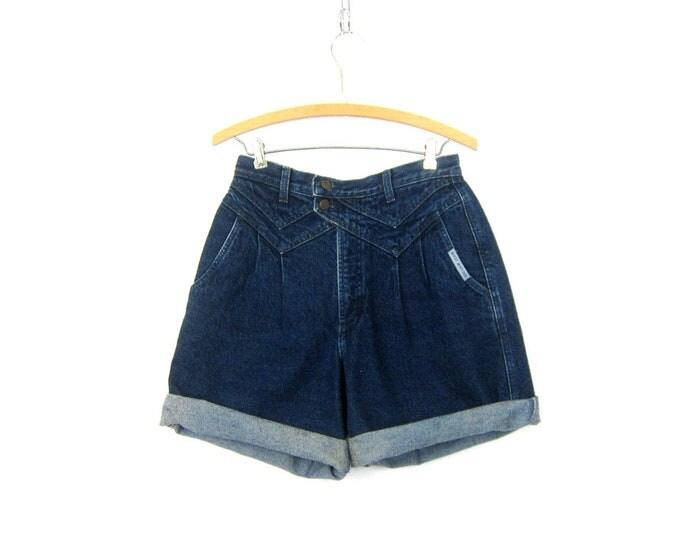 80s Blue Jean Shorts High Waist Dark Wash Blue Denim Shorts Vintage long 1980s MOM Shorts Womens Size 9 28 inch waist