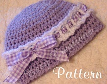 CROCHET PATTERN Headband Beanie Ribbon baby girl girls hat cloche 0 to 6 mo skill level intermediate