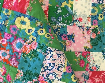 Patchwork Baby Quilt Jennifer Paganelli fabrics  shower gift roses bright pink green Nursery Gift Crib Naptime baby shower gift