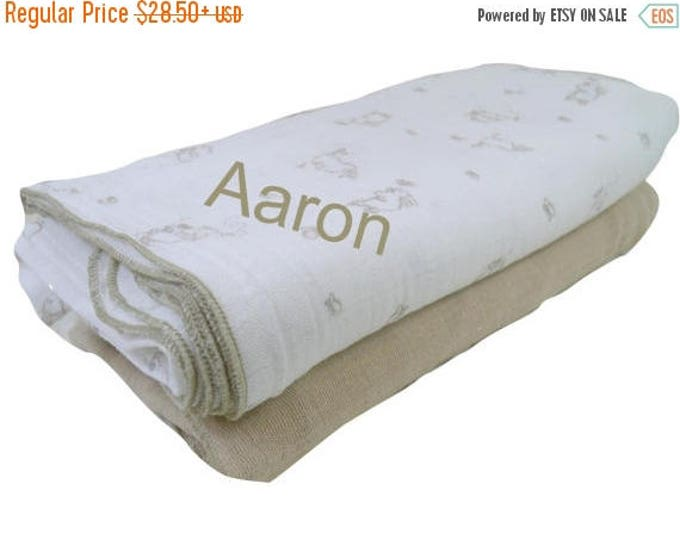 SALE Set of Muslin Cotton Swaddle Blankets, Bunny Rabbit Lightweight Summer Baby Blanket,