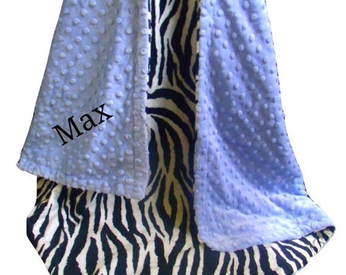 SALE Blue Zebra Minky Baby Blanket - Black and White Zebra Print Baby Blanket, Blue Minky Dot - three sizes, Can Be Personalized