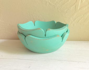 Pair of Vintage Green Painted Wood Wooden Flower shaped Bowls Vintage Upcycled 2 Two