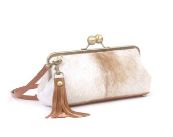 "Gray Cowhide Clutch ~ ""DANIELLE"" Handbag"
